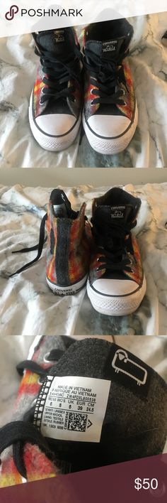 Woolrich Converse High Tops Worn 2-3 times, red, yellow and grey flannel looking woolrich Converse High Tops. women's 8 (men's 6) willing to negotiate price (slightly) Shoes Sneakers