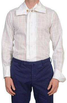 14cb191964 VIVIENNE WESTWOOD White Plaid Cotton Dress Shirt Size II US S EU 48.  SARTORIALE