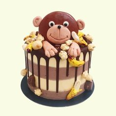 Fun And Totally Delicious Chocolate Peanut Butter Banana Monkey Themed Cake Perfect For Birthdays