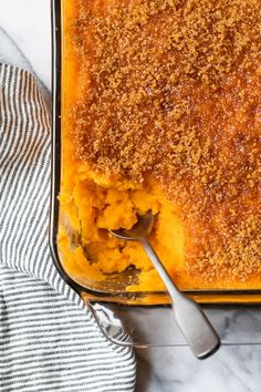 Mashed Sweet Potatoes Brulee are seasoned with with a hint of cinnamon and nutmeg topped with a caramelized brown sugar crust. Sweet potatoes are a must for Thanksgiving and this dish will be a hit on your Holiday table. #sweetpotatoes #thanksgiving #skinnytaste #sidedish