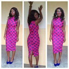Pink midi African print dress