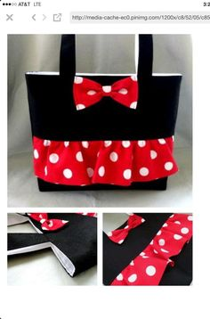 Minnie Mouse Inspired Tote For KamieMinnie Mouse Tote Going to make a Mickey one!Minnie Mouse Tote Picture only, no tutorialSuper cute, though I would prefer a lining other than white because of the grunge factor.My grandaughters would love this. Sewing Hacks, Sewing Crafts, Sewing Projects, Disney Diy, Disney Crafts, Sacs Tote Bags, Girls Bags, Bags For Kids, Disney Style