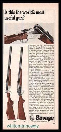 1965 SAVAGE 24 24-DL and 24-S Shotgun PRINT AD : Other Collectibles at GunBroker.com