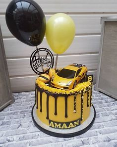 car cake Picture of Balloon Cake Topper Yellow Black Car Cakes For Boys, Race Car Cakes, Lamborghini Cake, Mustang Cake, Car Cake Toppers, Transformer Birthday, Transformer Cake, Transformers Birthday Parties, Cupcake Cakes