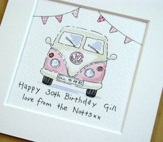 Ideas For Drawing Ideen Birthday Volkswagon Van, Volkswagen, Van Drawing, Mini Van, Camper Drawing, Campervan Gifts, Homemade Birthday Cards, Combi Vw, Paint Cards