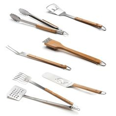 Grilling Nirvana! This set of six grilling tools features a spatula, locking tongs, fork, grill b...
