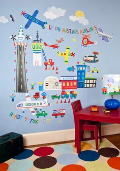 Decorate Airplane-Theme Room for Boys - Airports, Aviation, Helicopters