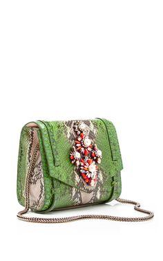 Daktari Crystal-Embellished Python Bag by Shourouk - Moda Operandi