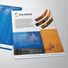 Create a 8.5x11 Front and Back Sales Sheet for Solarus by Sebastian Roy
