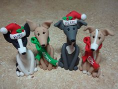 Custom Greyhound Clay Ornament