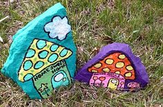 Art Food AND Motherhood: Recycled Art for Kids: Painted Rocks Project #2 - Rock Houses For the Garden