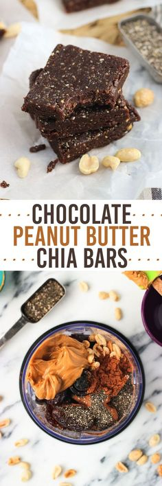 *refined sugar free*Chocolate Peanut Butter Chia Bars - an easy five-ingredient healthy snack recipe. These bars are no-bake, naturally sweetened, and vegan. All clean eating ingredients are used in this chia bar recipe. Pin now for later.