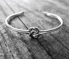 Double Love Knot Cuff Bracelet Sterling