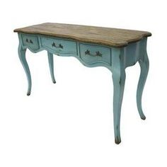 French Rustic Furniture Country Console Table Teal Blue Desi ...