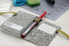 Lisa Johnson's mini composition book. Great idea for attaching a pen!!