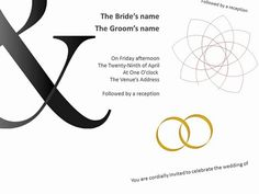 wedding invitation templates shows bold designs using wedding rings as the motif.
