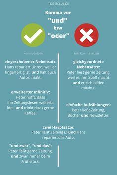 """Kommasetzung vor """"und"""" und """"oder"""": Muss man vor """"oder"""" ein Komma setzen? Wann gehört ein Komma vor """"und""""? Wenn Sie sich das auch immer wieder einmal fragen, gibt's hier die Antworten auf einen Blick. In diesem Textertipp bekommen Sie klare Regeln, die Sie sich einfach merken können. German Language, Chart, Learning, School, Adulting, Law, Fantasy, Marketing, Nice"""