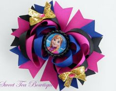Disney Frozen Princess Anna Boutique Hair Bow - OTT over the top - by Sweet Tea Bowtique