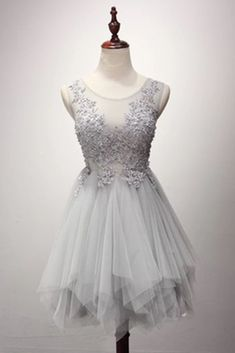 Organza prom dress, short prom dress, cute silver organza + appliques prom dress for teens