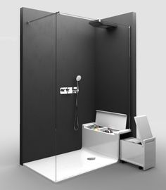 Shower seats with built in storage Small Bathroom Plans, Small Bathroom Storage, Modern Bathroom, Behindertengerechtes Bad, Douche Design, Shower Storage, Fiberglass Shower, Shower Seat, Kitchen And Bath Design