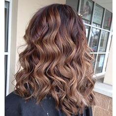 caramel balayage highlight hair brunette honey brown sombre
