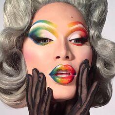 Pride Rainbow Makeup Tutorial Provincetown Pride In 2019 Drag Drag Queen Make-up, Bio Queen, Drag King, Male Makeup, Beauty Makeup, Makeup Inspo, Makeup Inspiration, Makeup Ideas, Drag Makeup Tutorial