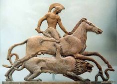 Terracotta relief showing Bellerophon fighting the Chimera, made in Melos ca.450 BC. The Chimera (or Khimaira) in Greek mythology is a monstrous beast which ravages the countryside of Lycia