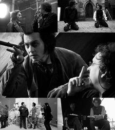 Behind the Scenes of Sweeney Todd - Johnny Depp and Tim Burton Tim Burton Style, Tim Burton Art, Tim Burton Films, Famous Musicals, Johnny Depp Movies, Fleet Street, Sweeney Todd, Helena Bonham Carter, Scene Image