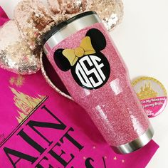 Glitter Coated Aluminum Minnie Monogram Tumbler /// Yeti /// Rctic