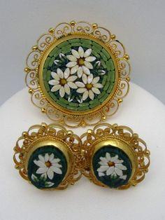 Micromosaic Brooch Pin Italy Mosaic Earrings