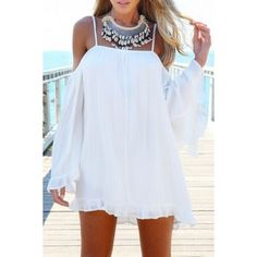 Slouchy Loose Fit Off-the-shoulder Tunic Dress ($20) ❤ liked on Polyvore featuring dresses, white, loose fitting dresses, loose dress, long sleeve dress, white long sleeve dress and off-shoulder dresses