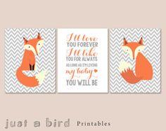 Printable fox art set of 3 prints, fox wall art, I'll love you forever, grey chevron nursery decor, nursery print set - DIGITAL DOWNLOAD