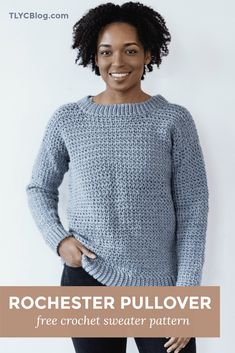 Rochester Pullover - free beginner crochet sweater pattern - from TL Yarn Crafts Crochet Sweater Design, Crochet Pullover Pattern, Crochet Sweaters, Crochet Tops, Free Crochet Sweater Patterns, Crochet Jumpers, Crochet Vests, Crochet For Beginners, Beginner Crochet