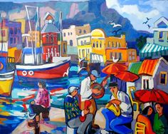 ILR1 ISABEL LE ROUX Harbour Musicians Oil on canvas 100x 80cm African Paintings, South African Artists, Africa Art, Great Paintings, Amazing Drawings, Naive Art, Fabric Painting, Art Images, Home Art