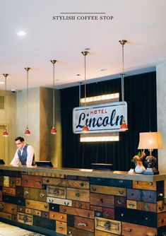 Check out the rad front desk at Hotel Lincoln! #Upcycle #UpcycleThat