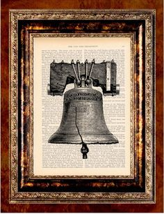 LIBERTY BELL Vintage Art Print Antique 1800's Book Page or Dictionary Page Upcycled Recycled. $8.99, via Etsy.