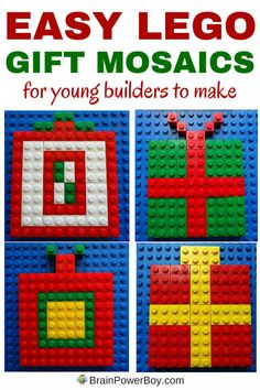 LEGO Designs: Easy LEGO Gift Mosaics – Brain Power Boy Super easy LEGO Christmas project that young builders can make. Click through for some guidelines for building a LEGO gift mosaic. Lego Duplo, Lego Math, Lego Craft, Lego Activities, Christmas Activities, Christmas Projects, Dinosaur Activities, Lego Design, Lego Christmas Ornaments