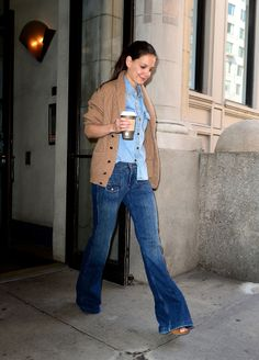 We're in love with Katie Holmes and her flares.