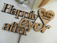 Stunning Personalised Wooden Wedding Cake Topper. Quotes, Mr & Mrs.