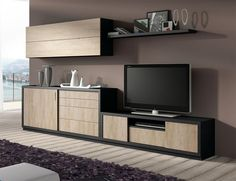 Modern TV unit, sideboard, wall cabinet and shelf composition in various colours
