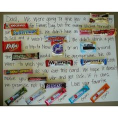 Candy bar Father's Day card...so smart!!!