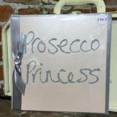 Glitter Card: Pink Card Silver Glitter - Prosecco Princess