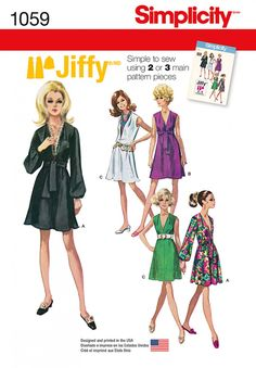 Simplicity 1059 Women's Jiffy Dress and Sash or Scarf