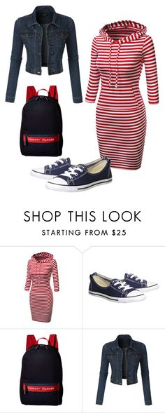 """Untitled #1082"" by tammyrog ❤ liked on Polyvore featuring Converse, Tommy Hilfiger and LE3NO"