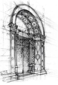 Architectural sketch of ~ gabahadatta on deviantART - Architecture Ideas Architecture Drawings, Architecture Details, Sketches Of Buildings, Architecture Artists, Architecture Diagrams, Perspective Drawing, Point Perspective, Interior Sketch, Urban Sketching