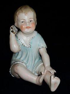 Antique GERMAN HERTWIG PIANO BABY DOLL BOY Bisque Porcelain Figurine Figure   eBay
