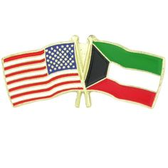 PinMarts USA and Kuwait Crossed Friendship Flag Lapel Pin *** Visit the image link more details.