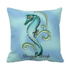 Seahorse in the Seaweed Throw Pillows