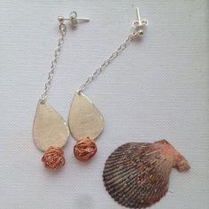 Silver copper earrings dangling handmade earrings by SamsabyElena