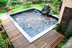 Interior, Backyard Pond Fish Koi Small Waterfall: Making a Backyard Fish Pond